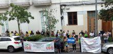 USO apoyó ayer al personal de Docentes Interinos de Canarias y de Justicia frente a la Subdelegación del Gobierno