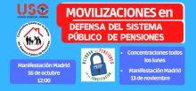 USO: Movilizaciones en defensa del sistema público de pensiones