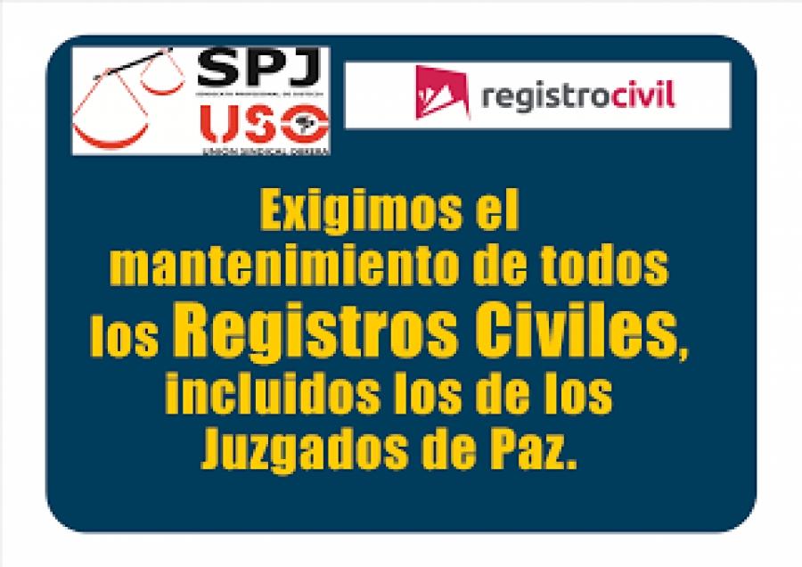 SPJ-USO: El Registro civil es un servicio esencial y debe seguir siendo público y gratuito
